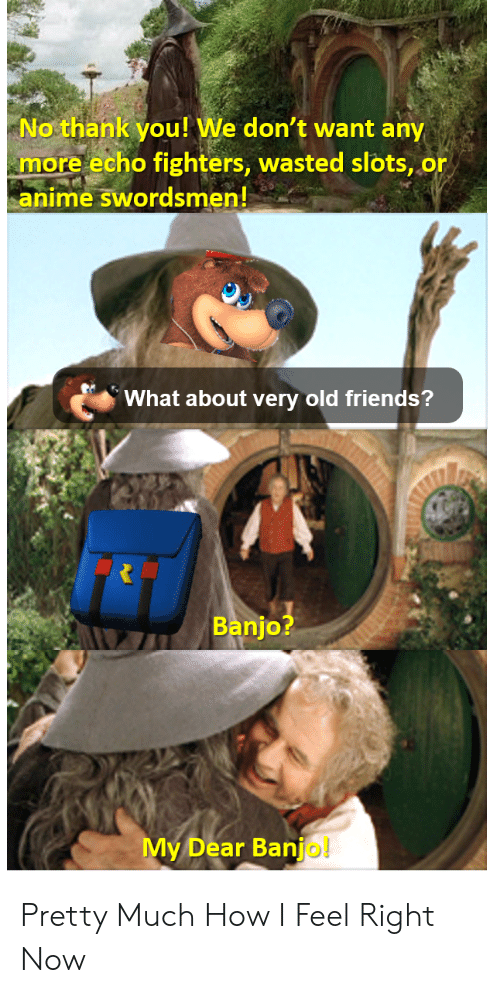 Anime, Friends, and Thank You: No thank you! We don't want any  more echo fighters, wasted slots, or  anime swordsmen!  What about very old friends?  Banjo?  My Dear Banjo! Pretty Much How I Feel Right Now