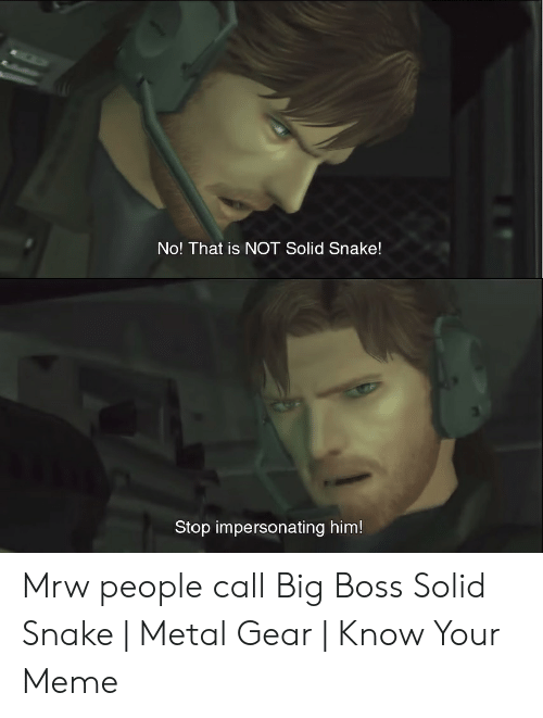 No That Is Not Solid Snake Stop Impersonating Him Mrw