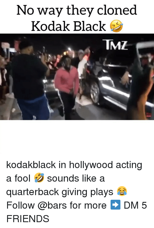 Friends, Memes, and Black: No way they cloned  Kodak Black  TMZ kodakblack in hollywood acting a fool 🤣 sounds like a quarterback giving plays 😂 Follow @bars for more ➡️ DM 5 FRIENDS