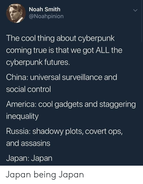 America, True, and China: Noah Smith  @Noahpinion  The cool thing about cyberpunk  coming true is that we got ALL the  cyberpunk futures.  China: universal surveillance and  social control  America: cool gadgets and staggering  inequality  Russia: shadowy plots, covert ops,  and assasins  Japan: Japan Japan being Japan