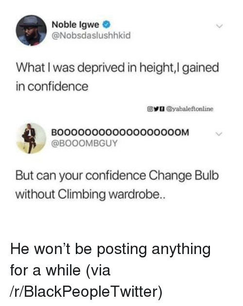 Blackpeopletwitter, Climbing, and Confidence: Noble Igwe  @Nobsdaslushhkid  What I was deprived in height,I gained  in confidence  @y @yabale flonline  BOOOO0000O0OOOOOOOOM  @BOOOMBGUY  But can your confidence Change Bulb  without Climbing wardrobe.. <p>He won't be posting anything for a while (via /r/BlackPeopleTwitter)</p>