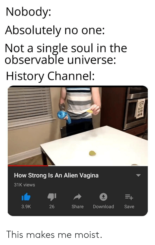 Alien, History, and Vagina: Nobody:  Absolutely no one:  Not a single soul in the  observable universe:  History Channel:  How Strong Is An Alien Vagina  31K views  3.9K  26  Share Download  Save This makes me moist.