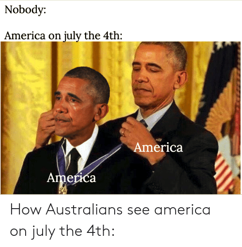 America, How, and July: Nobody:  America on july the 4th:  America  America How Australians see america on july the 4th: