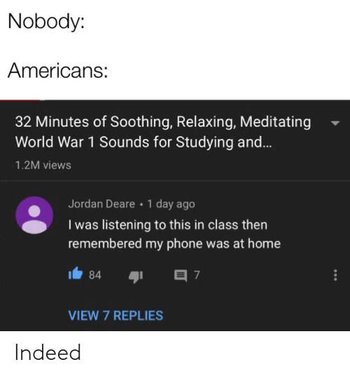 Phone, Home, and Indeed: Nobody:  Americans:  32 Minutes of Soothing, Relaxing, Meditating  World War 1 Sounds for Studying and...  1.2M views  Jordan Deare 1 day ago  I was listening to this in class then  remembered my phone was at home  84  7  VIEW 7 REPLIES Indeed