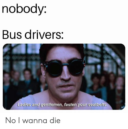 Dank Memes, Bus, and Drivers: nobody  Bus drivers:  Ladies and gentlemen, fasten your seatbelts. No I wanna die