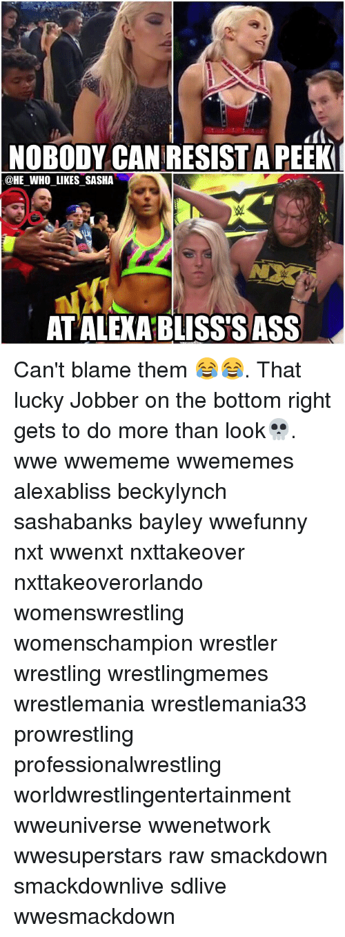 Memes, Wrestling, and World Wrestling Entertainment: NOBODY CANRESISTA PEEK  @HE WHO LIKES SASHA  ATALEXABLISSESASS Can't blame them 😂😂. That lucky Jobber on the bottom right gets to do more than look💀. wwe wwememe wwememes alexabliss beckylynch sashabanks bayley wwefunny nxt wwenxt nxttakeover nxttakeoverorlando womenswrestling womenschampion wrestler wrestling wrestlingmemes wrestlemania wrestlemania33 prowrestling professionalwrestling worldwrestlingentertainment wweuniverse wwenetwork wwesuperstars raw smackdown smackdownlive sdlive wwesmackdown