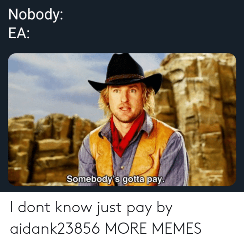 Dank, Memes, and Target: Nobody:  EA:  Somebodvis gotta pay. I dont know just pay by aidank23856 MORE MEMES