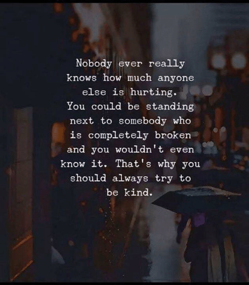 How, Next, and Who: Nobody ever really  knows how much anyone  else is hurting  You could be standing  next to somebody who  is completely broken  and you wouldn't even  know it. That's why you  should always try to  be kind.