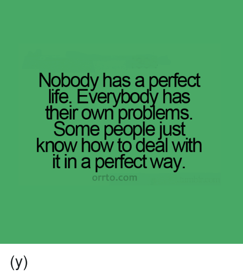 Life, Memes, and How To: Nobody has a perfect  life, Everybody has  their own problems.  Some people just  know how to deal with  it in a perfect way.  orrto com (y)