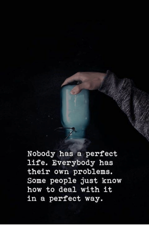 Life, How To, and How: Nobody has a perfect  life. Everybody has  their own problems.  Some people just know  how to deal with it  in a perfect way.