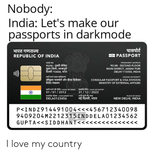Nobody India Let's Make Our Passports in Darkmode REPUBLIC