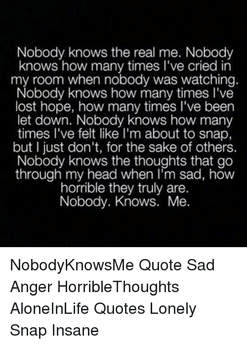 Nobody Knows The Real Me Nobody Knows How Many Times Lve Cried In