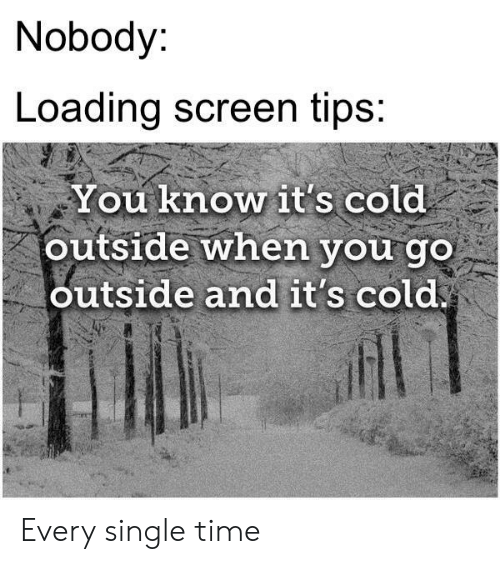 Nobody Loading Screen Tips You Know It's Cold Outside When You Go