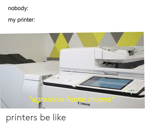 Nobody My Printer Agressive Horse Moans Canon Printers Be Like | Be