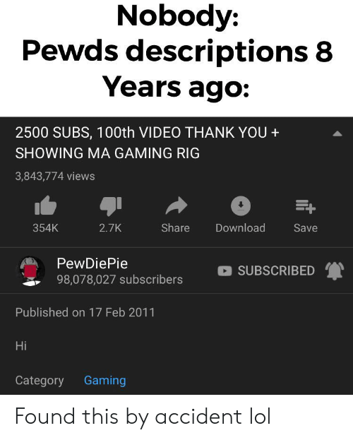 Nobody Pewds Descriptions 8 Years Ago 2500 SUBS 100th VIDEO THANK