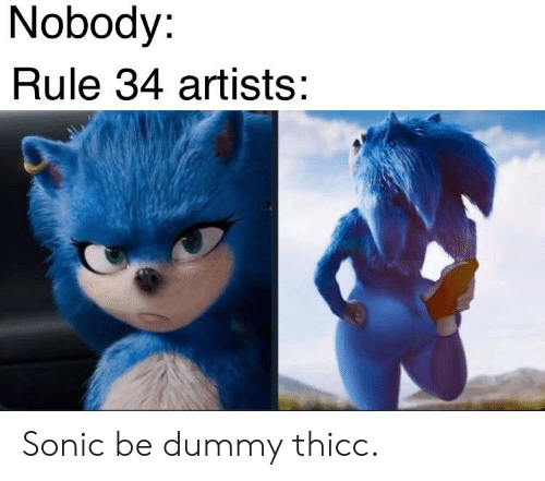 Nobody Rule 34 Artists Sonic Be Dummy Thicc Sonic Meme On