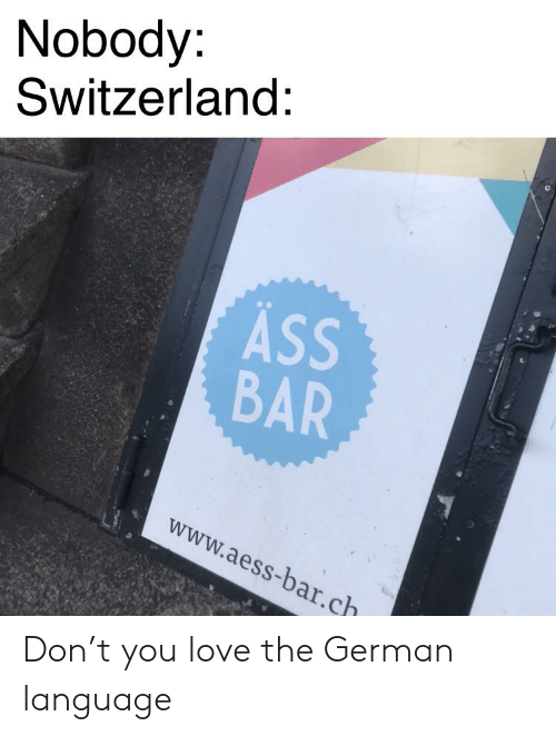 Ass, Love, and Switzerland: Nobody:  Switzerland:  ASS  BAR  www.aess-bar.ch Don't you love the German language