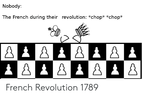 History, Revolution, and French: Nobody:  The French during their revolution: *chop* *chop* French Revolution 1789