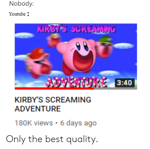 youtube.com, Best, and Dank Memes: Nobody:  Youtube  3:40  KIRBY'S SCREAMING  ADVENTURE  180K views 6 days ago Only the best quality.