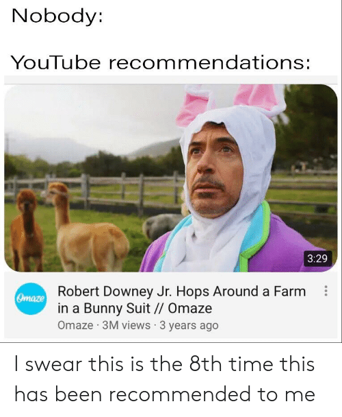 Nobody YouTube Recommendations 329 Robert Downey Jr Hops Around a