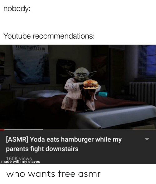 Nobody Youtube Recommendations ASMR Yoda Eats Hamburger
