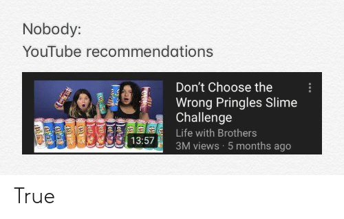 Nobody YouTube Recommendations Don't Choose the Wrong Pringles Slime