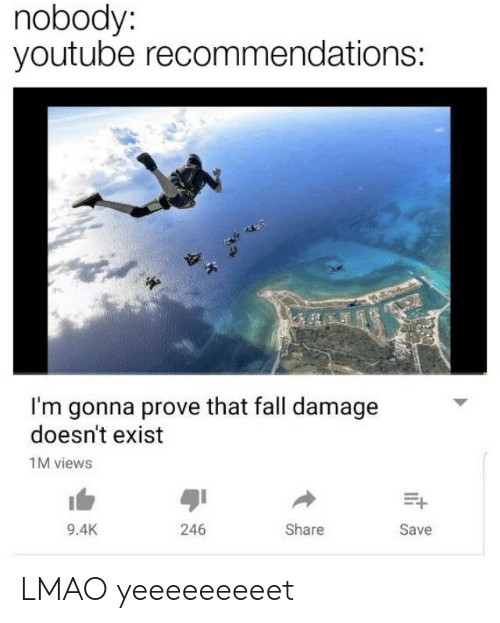 Nobody Youtube Recommendations I'm Gonna Prove That Fall Damage