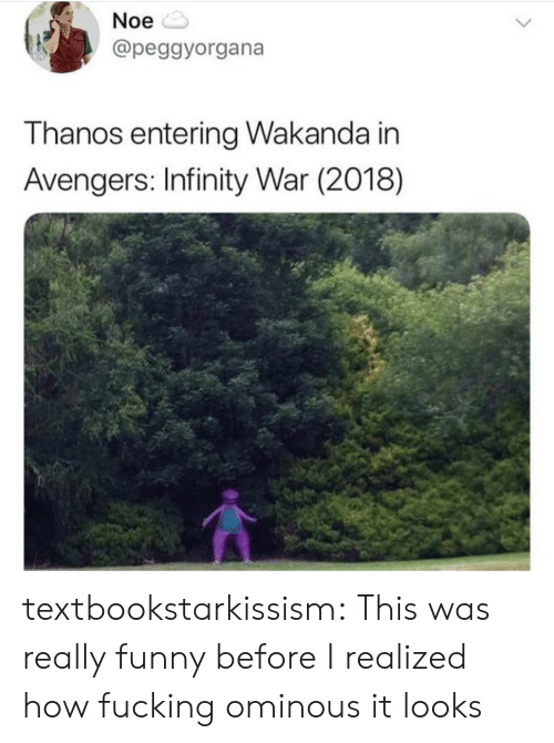 Fucking, Funny, and Tumblr: Noe  @peggyorgana  T hanos entering Wakanda in  Avengers: Infinity War (2018) textbookstarkissism: This was really funny before I realized how fucking ominous it looks