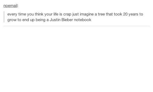 Justin Bieber, Life, and Notebook: noemail  every time you think your life is crap just imagine a tree that took 20 years to  grow to end up being a Justin Bieber notebook