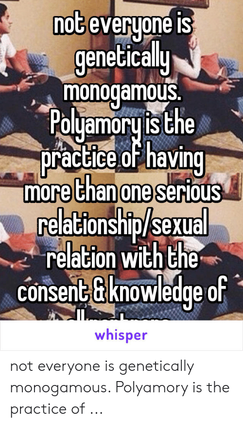 Nog Everyone Is Genetically Monogamous Pouamoruis The Practice Ohai More Ehanoneserious Relationshipsexual Relation With The Consent Gknowledge Of Whisper Not Everyone Is Genetically Monogamous Polyamory Is The Practice Of The Practice