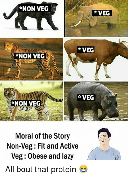 Lazy, Protein, and Fit: *NON VEG  *NON VEG  Moral of the Story  Non-Veg: Fit and Active  Veg: Obese and lazy All bout that protein 😂