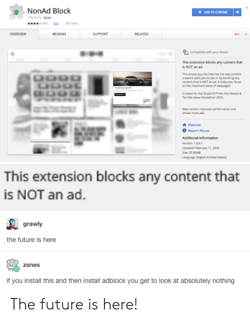 NonAd Block +ADD TO CHROME Fered by Skcad a 35S Users