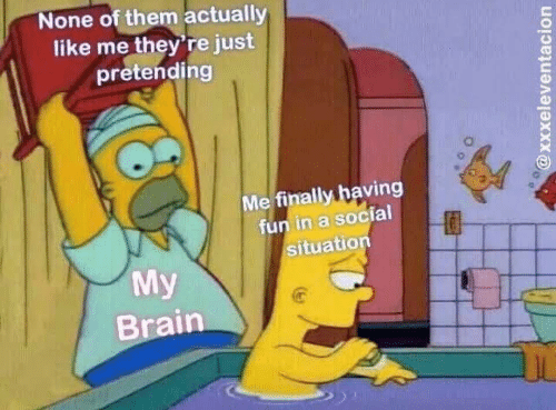 Brain, Fun, and Them: None of them actually  like me they're just  pretending  Me finally having  fun in a social  situation  0  My  Brain