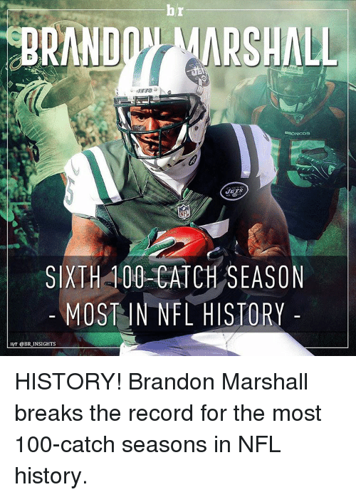 Nfl, Sports, and Break: NOON MARSHALL  BRONCOS  JETS  SIXTH 100 CATCH SEASON  MOST IN NFL HISTORY  HNT @BR INSIGHTS HISTORY! Brandon Marshall breaks the record for the most 100-catch seasons in NFL history.