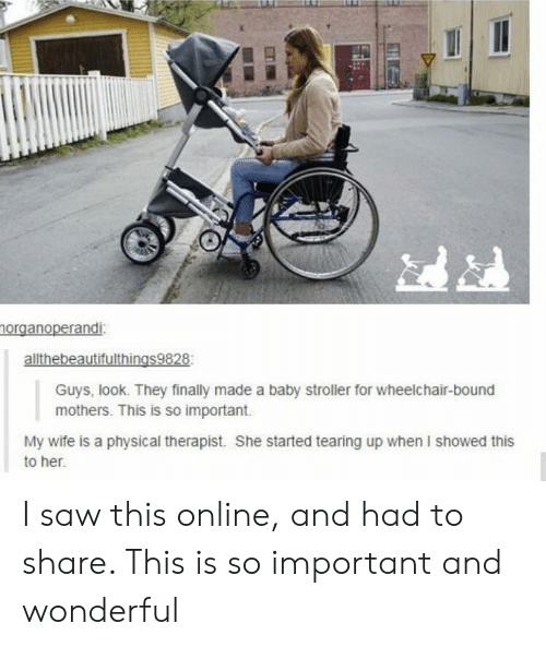 Saw, Wife, and Physical: norganoperandi:  allthebeautifulthings9828  Guys, look. They finally made a baby stroller for wheelchair-bound  mothers. This is so important  My wife is a physical therapist. She started tearing up when I showed this  to her. I saw this online, and had to share. This is so important and wonderful