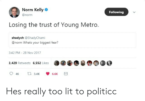 Norm Kelly Following Losing the Trust of Young Metro Shadych Whats
