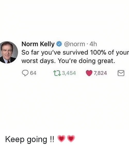 Anaconda, Ironic, and Norm Kelly: Norm Kelly@norm 4h  worst days. You're doing great.  064 3,454-7,824  est ) So far you've survived 100% of your Keep going !! 💗💗