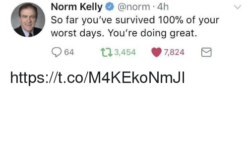 Anaconda, Memes, and Norm Kelly: Norm Kelly@norm 4h  worst days. You're doing great.  964 3,454 U) 7,824 6.3  TO So far you've survived 100% of your https://t.co/M4KEkoNmJI