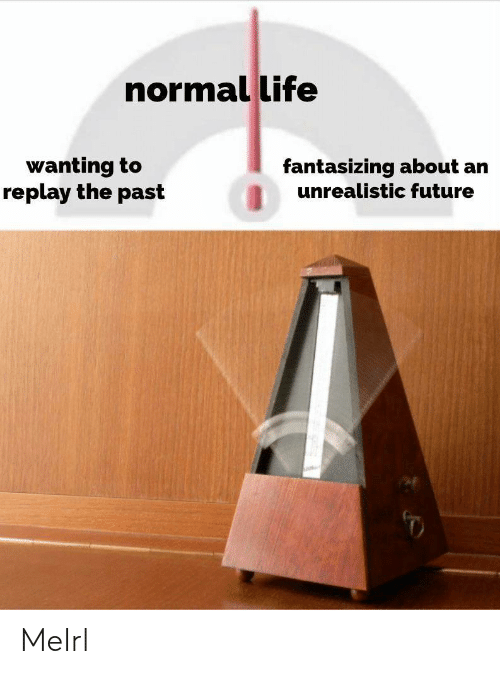 Future, Life, and MeIRL: normal life  wanting to  replay the past  fantasizing about an  unrealistic future MeIrl