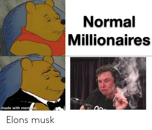 Reddit, Musk, and Made: Normal  Millionaires  made with mematic Elons musk