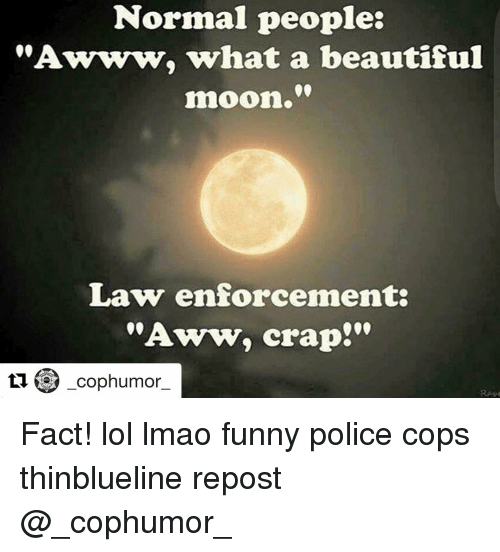 """Aww, Memes, and Police: Normal people:  """"Awww, what a beautiful  moon.""""  Law enforcement  """"Aww, crap!""""  ti cop humor Fact! lol lmao funny police cops thinblueline repost @_cophumor_"""