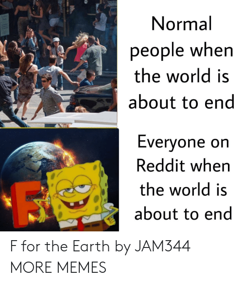 Dank, Memes, and Reddit: Normal  people when  the world is  about to end  Evervone orn  Reddit when  the world is  about to end F for the Earth by JAM344 MORE MEMES