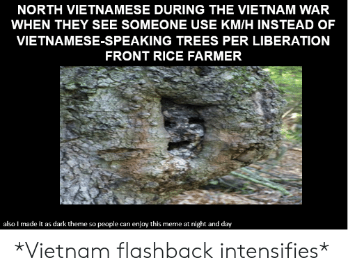 North Vietnamese During The Vietnam War When They See Someone Use Kmh Instead Of Vietnamese Speaking Trees Per Liberation Front Rice Farmer Also I Made It As Dark Theme People Ne At Night