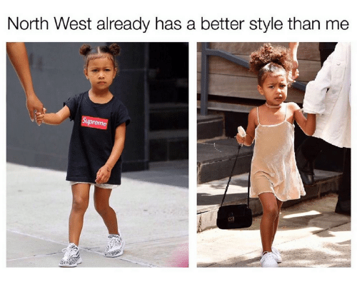 North West, Kardashian, and Celebrities: North West already has a better style than me