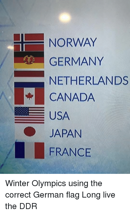 Winter Canada And France Norway Germany Netherlands Usa An Olympics