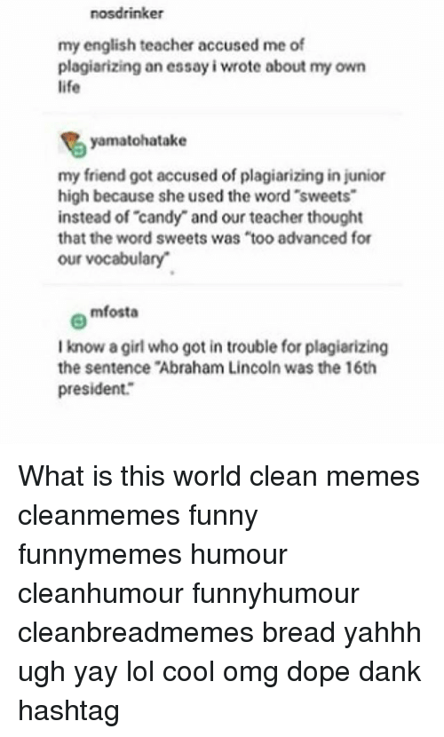 Nosdrinker My English Teacher Accused Me Of Plagiarizing An Essay  Abraham Lincoln Candy And Dank Nosdrinker My English Teacher Accused Me  Of Plagiarizing