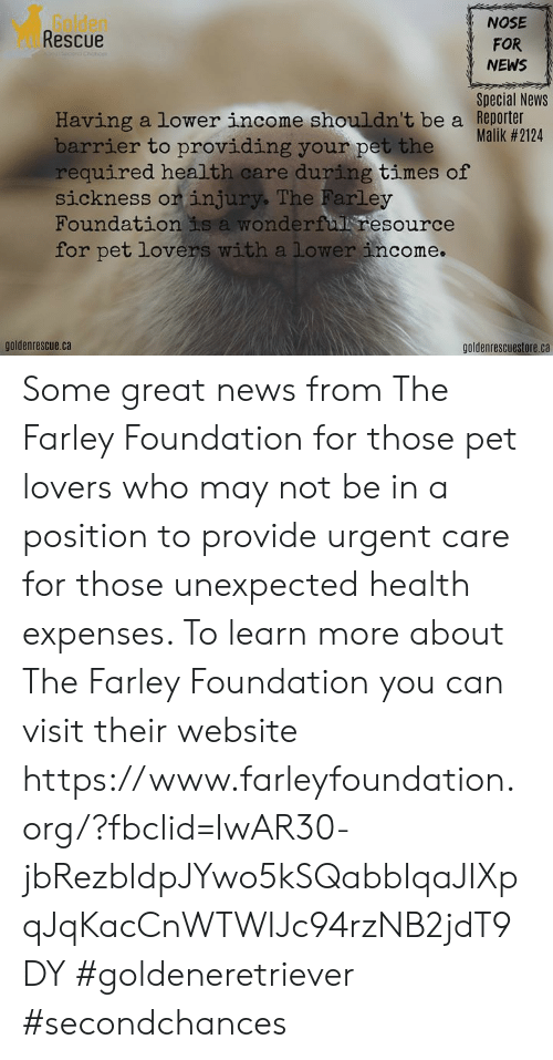Memes, News, and 🤖: NOSE  Rescue  Ralden  FOR  con Chanos  NEWS  Special News  Having a lower income shouldn't be a Reporter  barrier to providing your pet the  required health care during times of  sickness orinjury. The Farley  Foundation is a wonderfu resource  for pet lovers with a lower income.  Malik #2124  goldenrescue.ca  goldenrescuestore.ca Some great news from The Farley Foundation for those pet lovers who may not be in a position to provide urgent care for those unexpected health expenses.  To learn more about The Farley Foundation you can visit their website https://www.farleyfoundation.org/?fbclid=IwAR30-jbRezbldpJYwo5kSQabbIqaJIXpqJqKacCnWTWIJc94rzNB2jdT9DY #goldeneretriever #secondchances