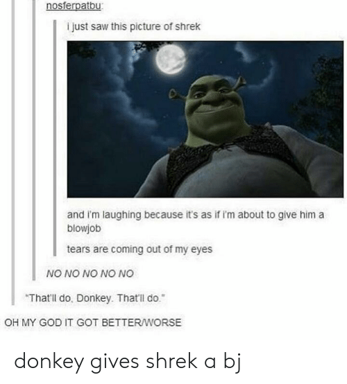 "Blowjob, Donkey, and God: nosferpatbu  i just saw this picture of shrek  and i'm laughing because it's as if i'm about to give him a  blowjob  tears are coming out of my eyes  NO NO NO NO NO  ""That'll do, Donkey. That'll do.  OH MY GOD IT GOT BETTERWORSE donkey gives shrek a bj"