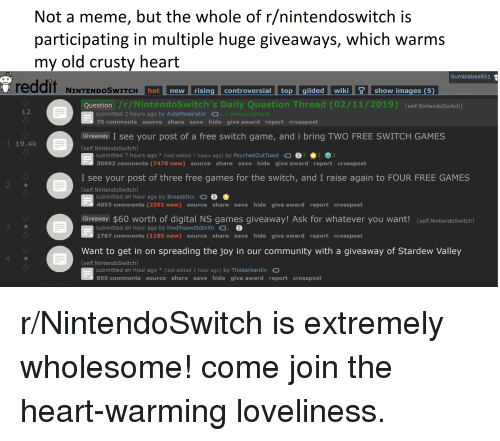 Not a Meme but the Whole of Rnintendoswitch Is Participating