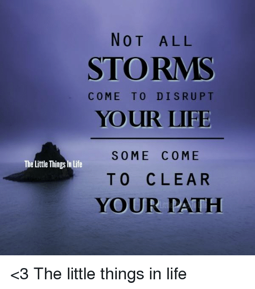 NOT ALL STORMS COME TO DISRUPT YOUR LIFE SOME COME TO ...